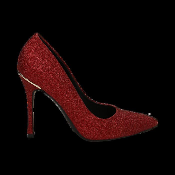 Décolleté rosse in glitter, tacco 11 cm , Scarpe, 142146861GLROSS036