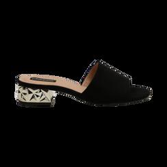Mules nere in microfibra, tacco scultura 4 cm , Scarpe, 134925006MFNERO036, 001 preview