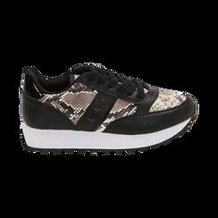 Sneakers bianco/nere stampa pitone, Primadonna, 162619079PTBINE036, 001 preview