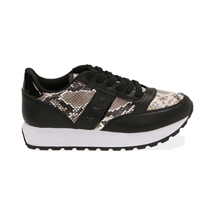 Sneakers bianco/nere stampa pitone, Primadonna, 162619079PTBINE036