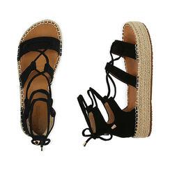 Sandales noires en microfibre, compensees 3,5 cm, Primadonna, 174902389MFNERO036, 003 preview