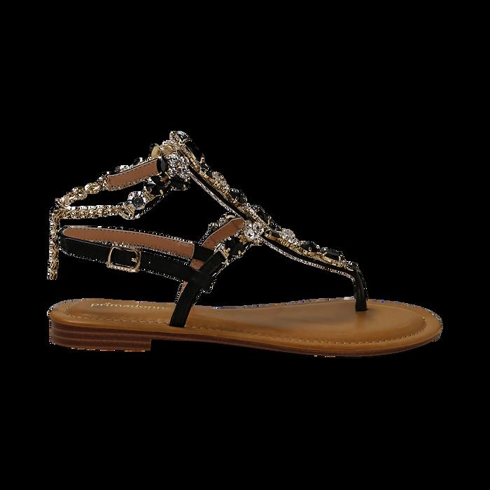 Sandali gioiello flat neri in eco-pelle, Primadonna, 134988245EPNERO036
