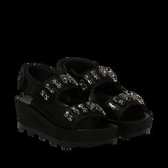 Sandali platform neri in raso con cristalli, zeppa 5,5 cm , Primadonna, 119909492RSNERO037, 002a