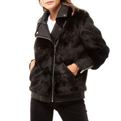 Biker jacket nera in eco fur, Primadonna, 166500906FUNEROM, 001 preview