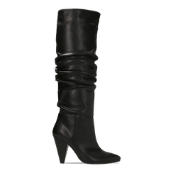 Stivali neri gambale drappeggiato, tacco a cono 10 cm, 124911206EPNERO036, 001a