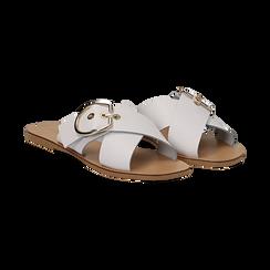 Mules bianche in vera pelle e fibbia gold, Primadonna, 133500028PEBIAN036, 002 preview