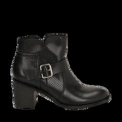 Bottines noires en simili-cuir avec une boucle, talon de 6,50 cm , Primadonna, 150682987EPNERO036, 001a