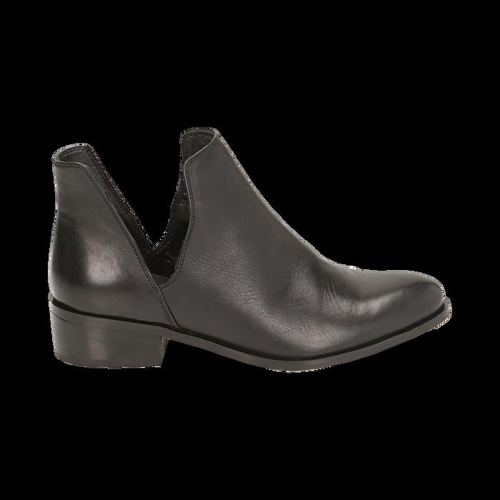 Botines en piel color negro, tacón 3 cm, Zapatos, 159407601PENERO036