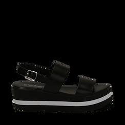 Sandali platform neri in eco-pelle, zeppa 5 cm , Scarpe, 132147512EPNERO035, 001a