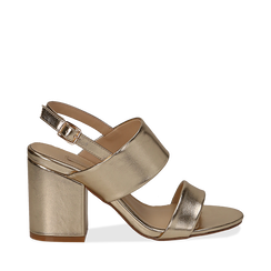 Sandali doppia fascia oro in laminato, tacco 9 cm, Primadonna, 132177304LMOROG036, 001a