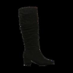 Stivali neri scamosciati con gambale drappeggiato, tacco quadrato medio 5 cm, Primadonna, 122707419MFNERO, 001 preview