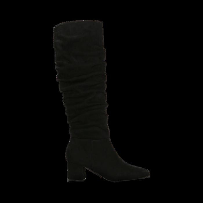 Stivali neri scamosciati con gambale drappeggiato, tacco quadrato medio 5 cm, Primadonna, 122707419MFNERO