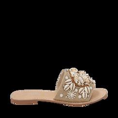 Ciabatte beige in rafia con conchiglie, Zapatos, 15K904446RFBEIG036, 001a