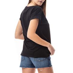 T-shirt noir à imprimé chaussures, Primadonna, 17I704002TSNEROL, 002a