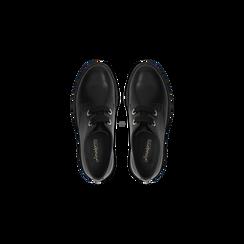 Brogues stringate nere in vera pelle, suola comfort, Scarpe, 127723708VINERO, 004 preview