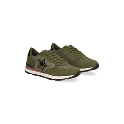 Sneakers verdi dettagli glitter e metallizzati , Primadonna, 121308201LMVERD, 002 preview