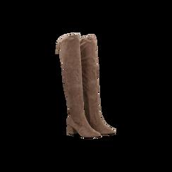 Stivali sopra il ginocchio taupe scamosciati con coulisse, tacco 6,5 cm, Scarpe, 122707128MFTAUP036, 002