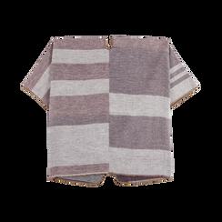 Poncho rosa effetto lamé, stampa a quadri multicolore, Abbigliamento, 12B409679TSROSA, 004 preview