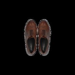 Francesine stringate in vera pelle color cuoio, tacco medio, Primadonna, 127711405PECUOI, 004 preview
