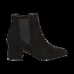 Ankle boots neri in microfibra, tacco trapezio 6 cm , Stivaletti, 142707127MFNERO035, 001 preview
