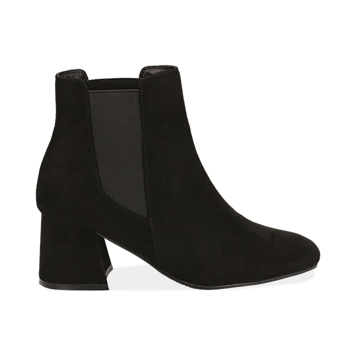 Ankle boots neri in microfibra, tacco trapezio 6 cm , Stivaletti, 142707127MFNERO035