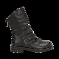 Ankle boots drappeggiati neri in eco-pelle, Stivaletti, 14A719675EPNERO035, 001a