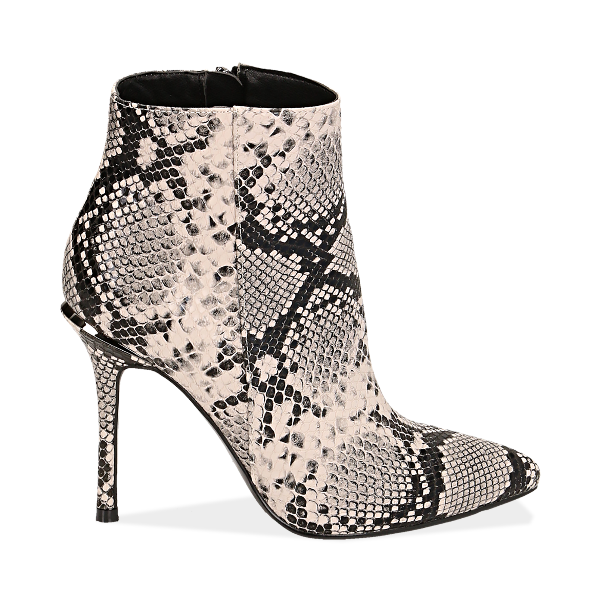 Ankle boots beige/neri effetto snake, tacco 11 cm