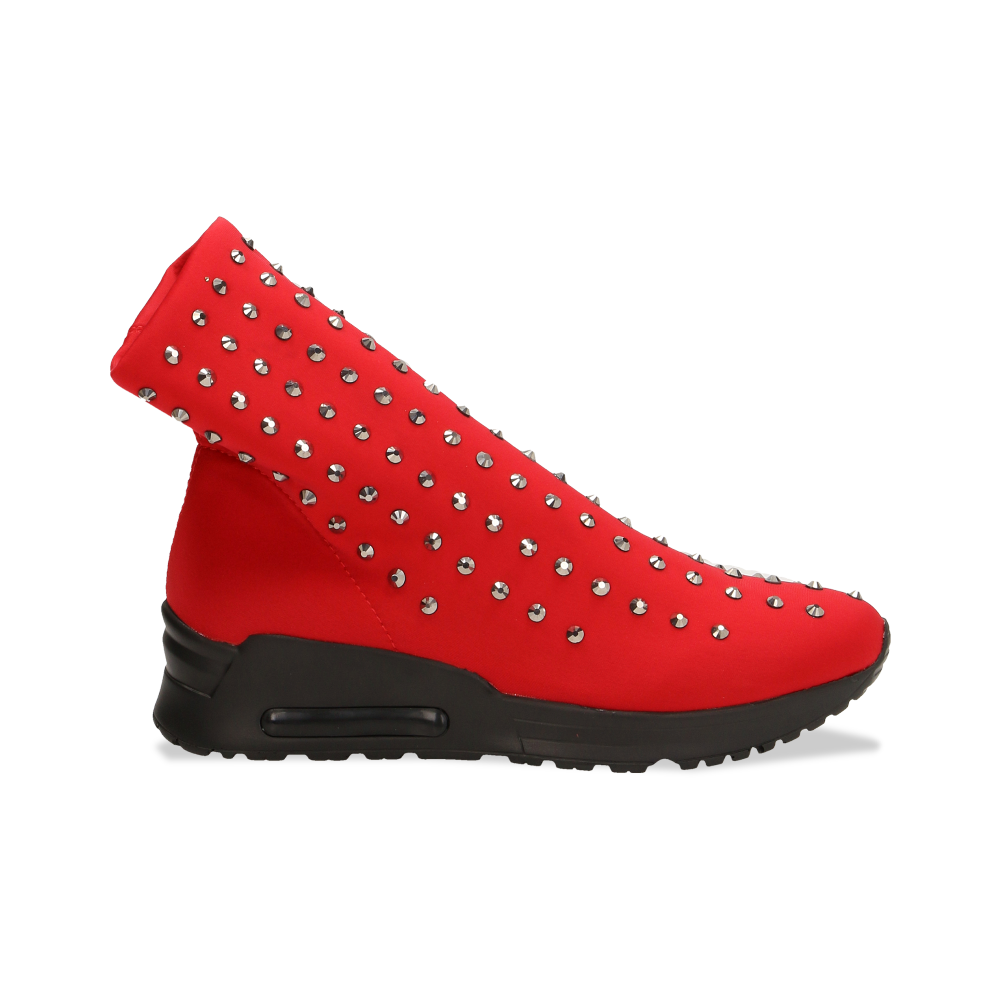 Sneakers rosse slip-on in lycra con cristalli