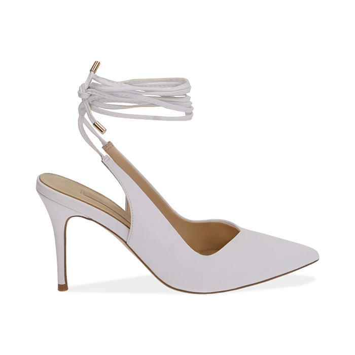 Slingback lace-up bianche, tacco 9 cm