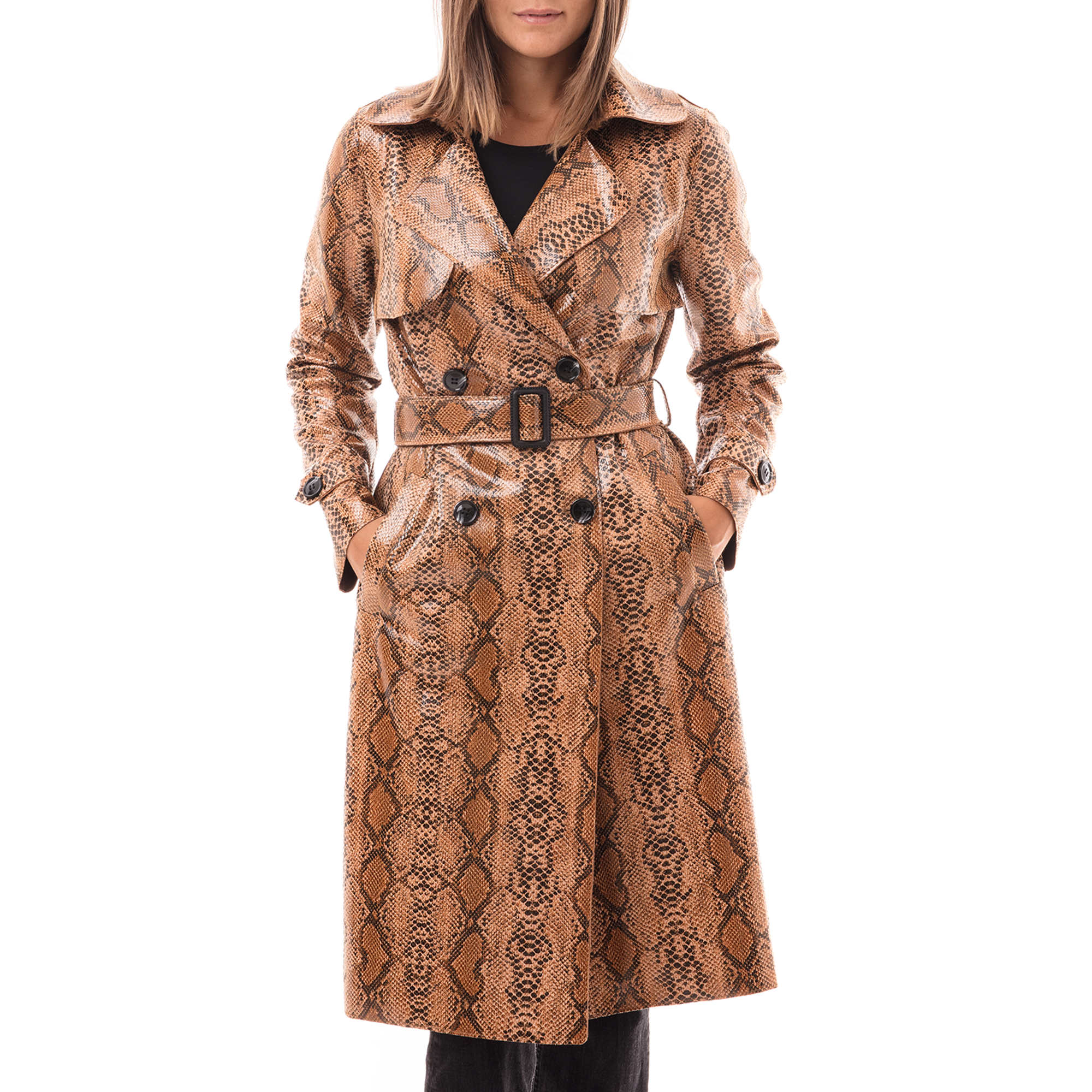 Trench cuoio in eco-pelle effetto snake skin