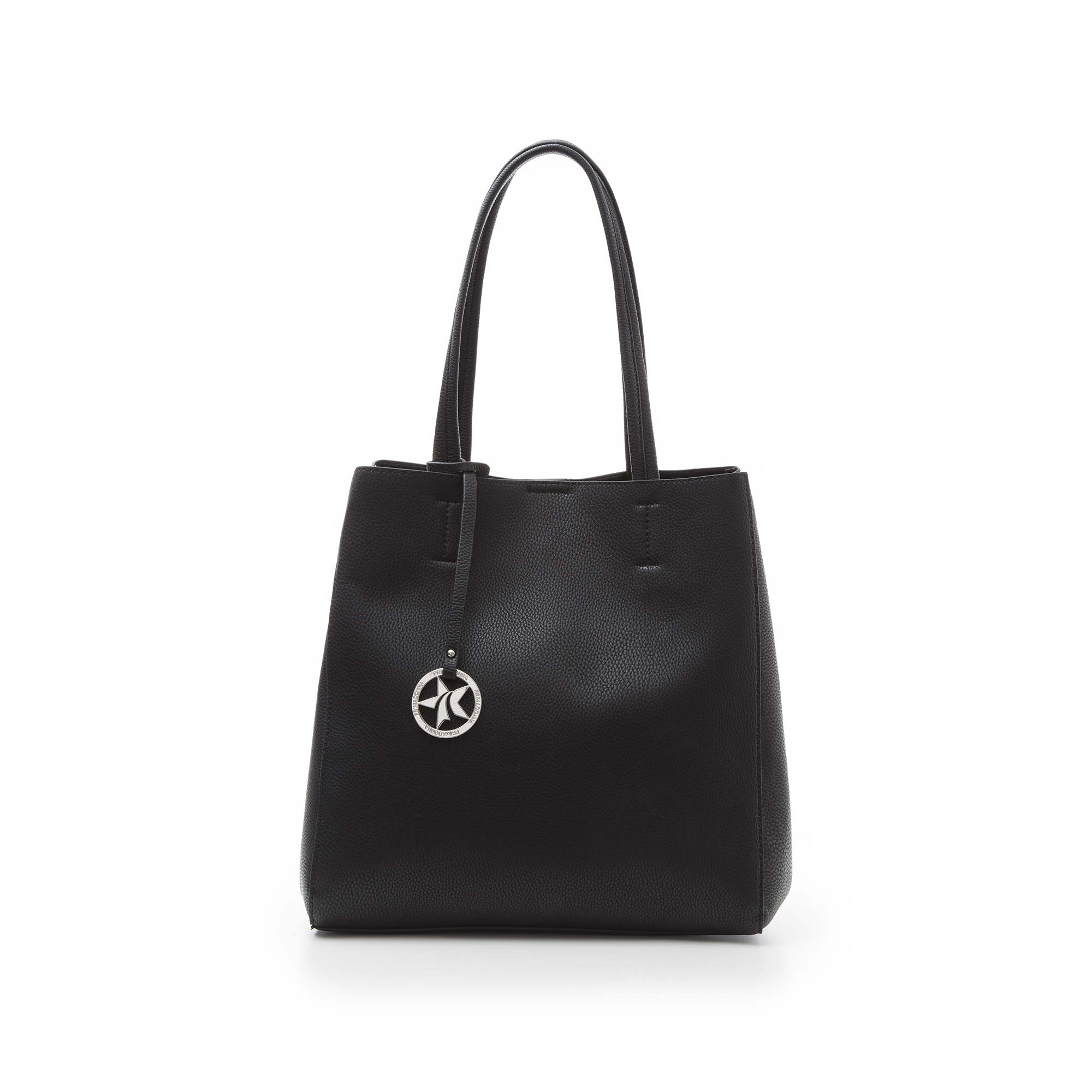 Maxi-bag nera in eco-pelle