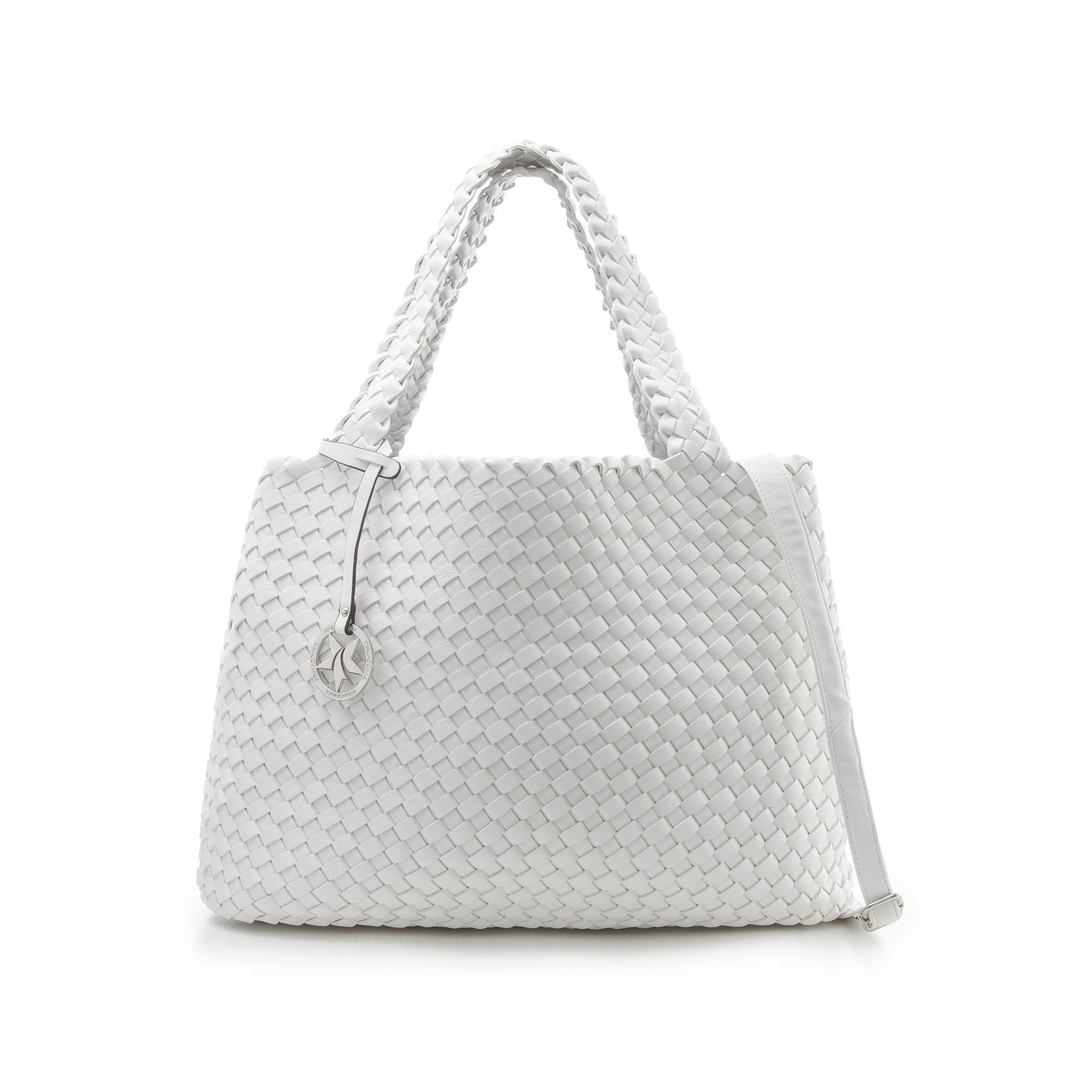 d86e0f0318 7 Maxi-bag bianca in eco-pelle intrecciata