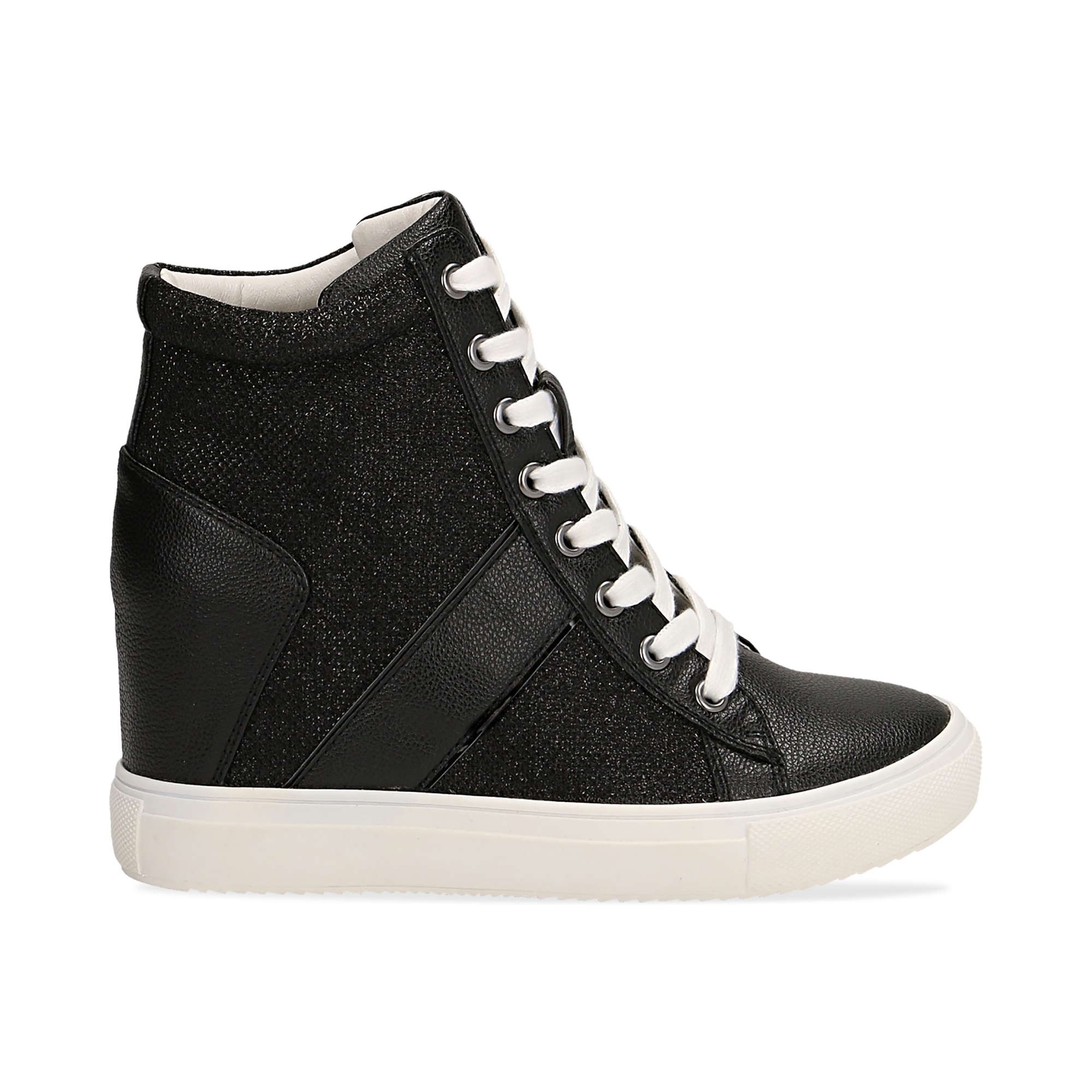 Sneakers nere in ecopelle con zeppa