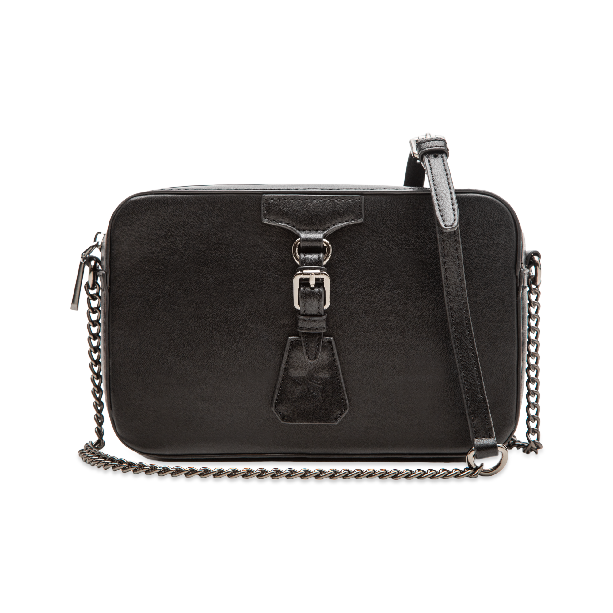 Camera bag nera con tracolla, ecopelle
