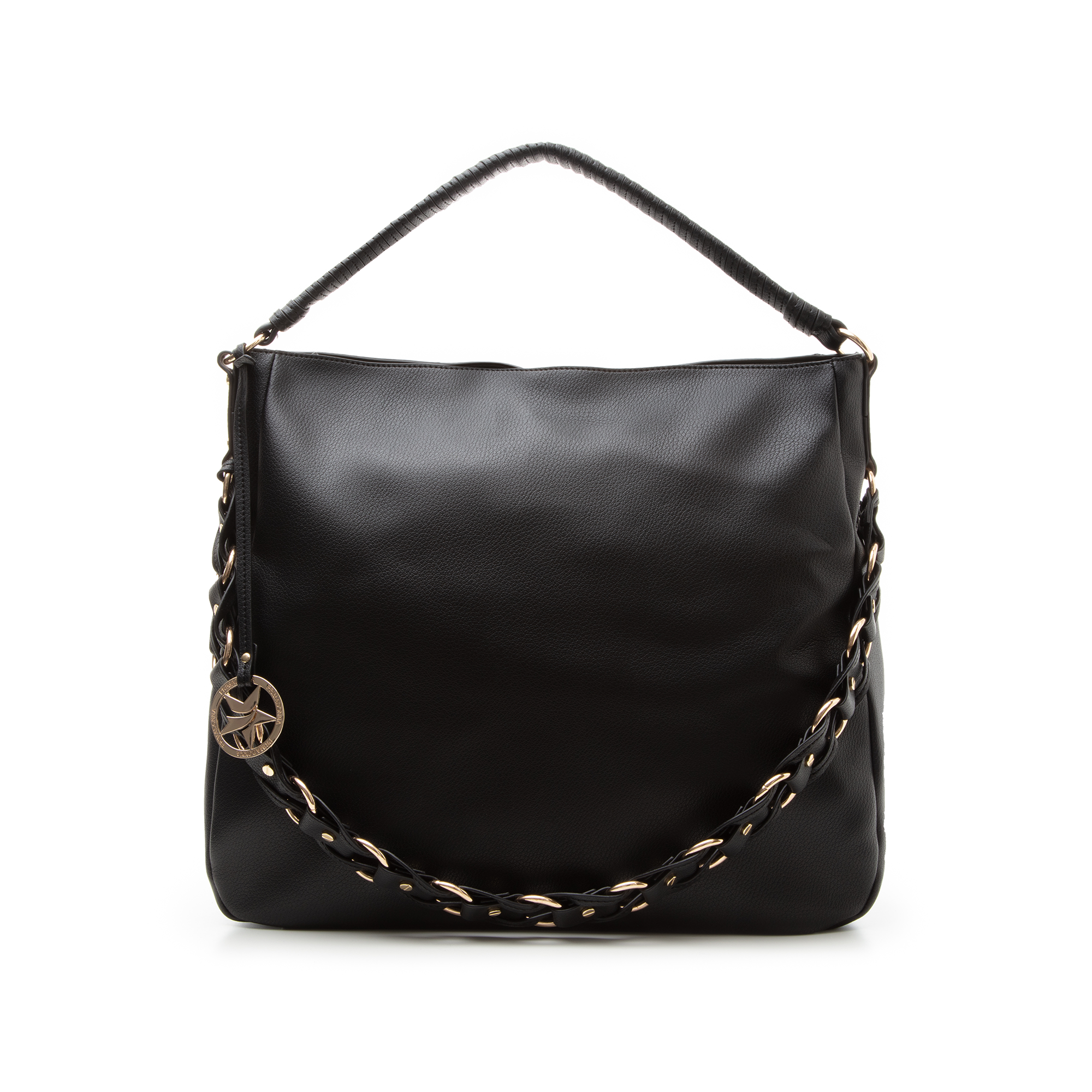 Maxi bag nera in eco-pelle con tracolla decor