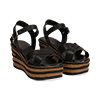 Sandali platform neri in eco-pelle, zeppa righe optical 8 cm