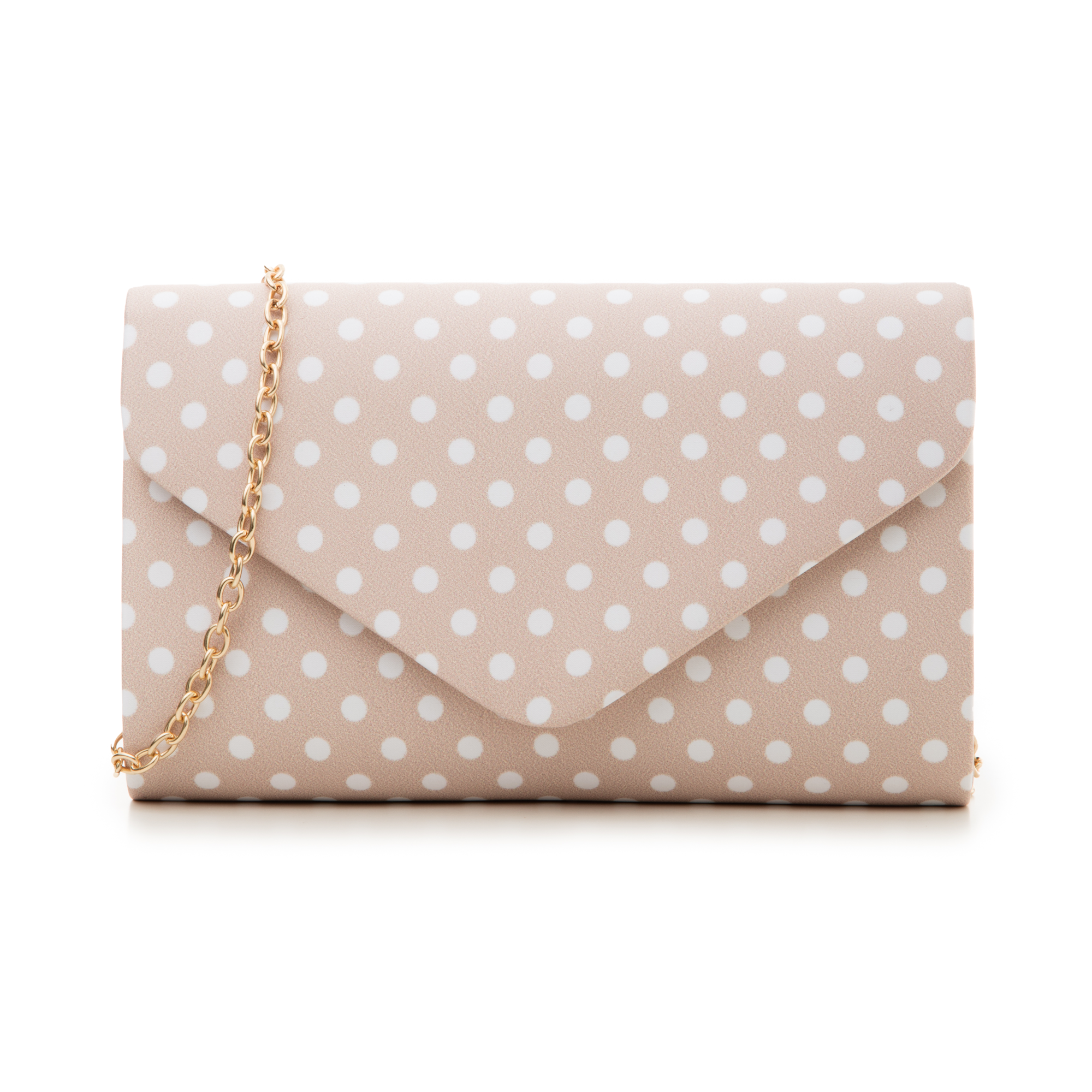 Clutch nude in raso a pois bianchi