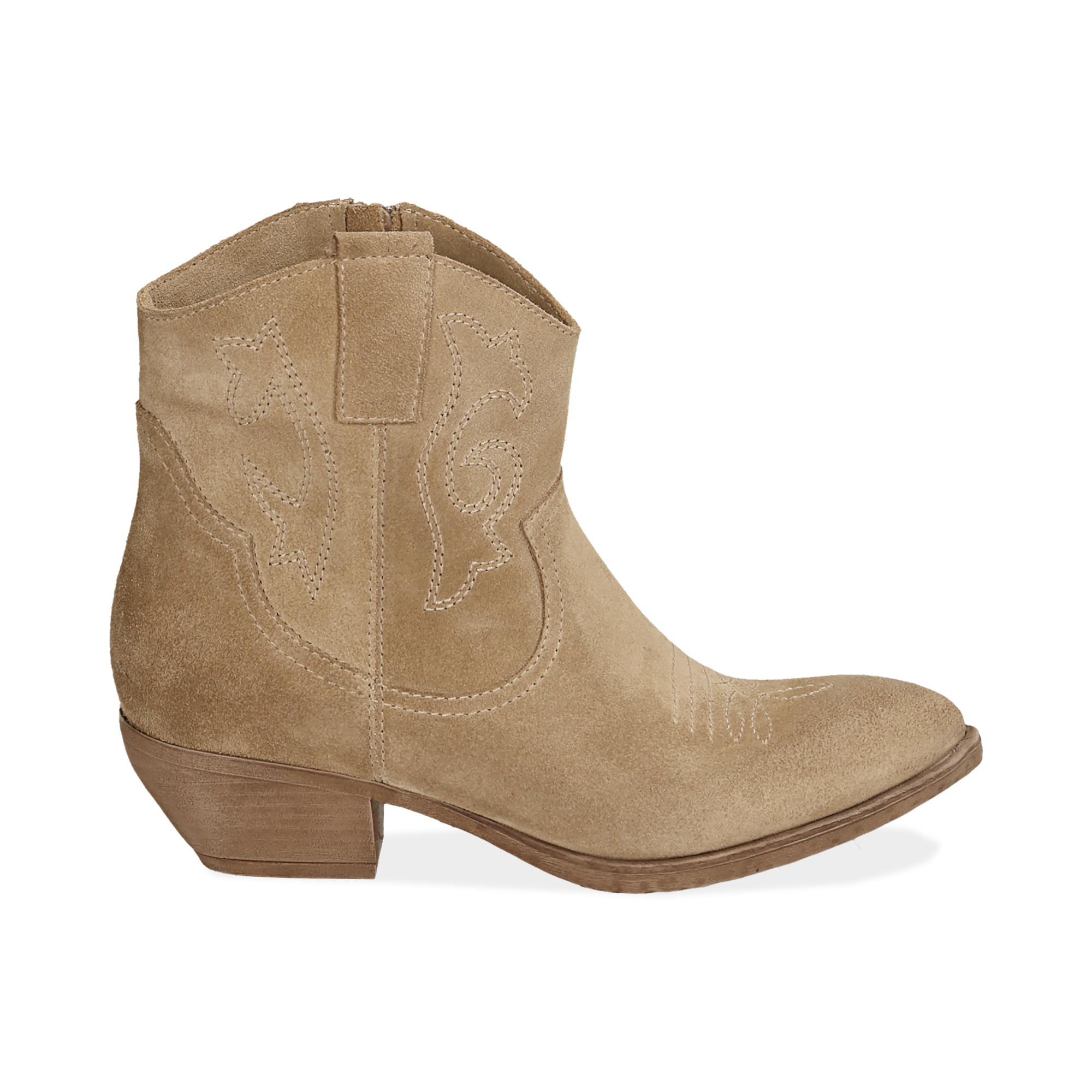 Camperos taupe in camoscio, tacco 4 cm