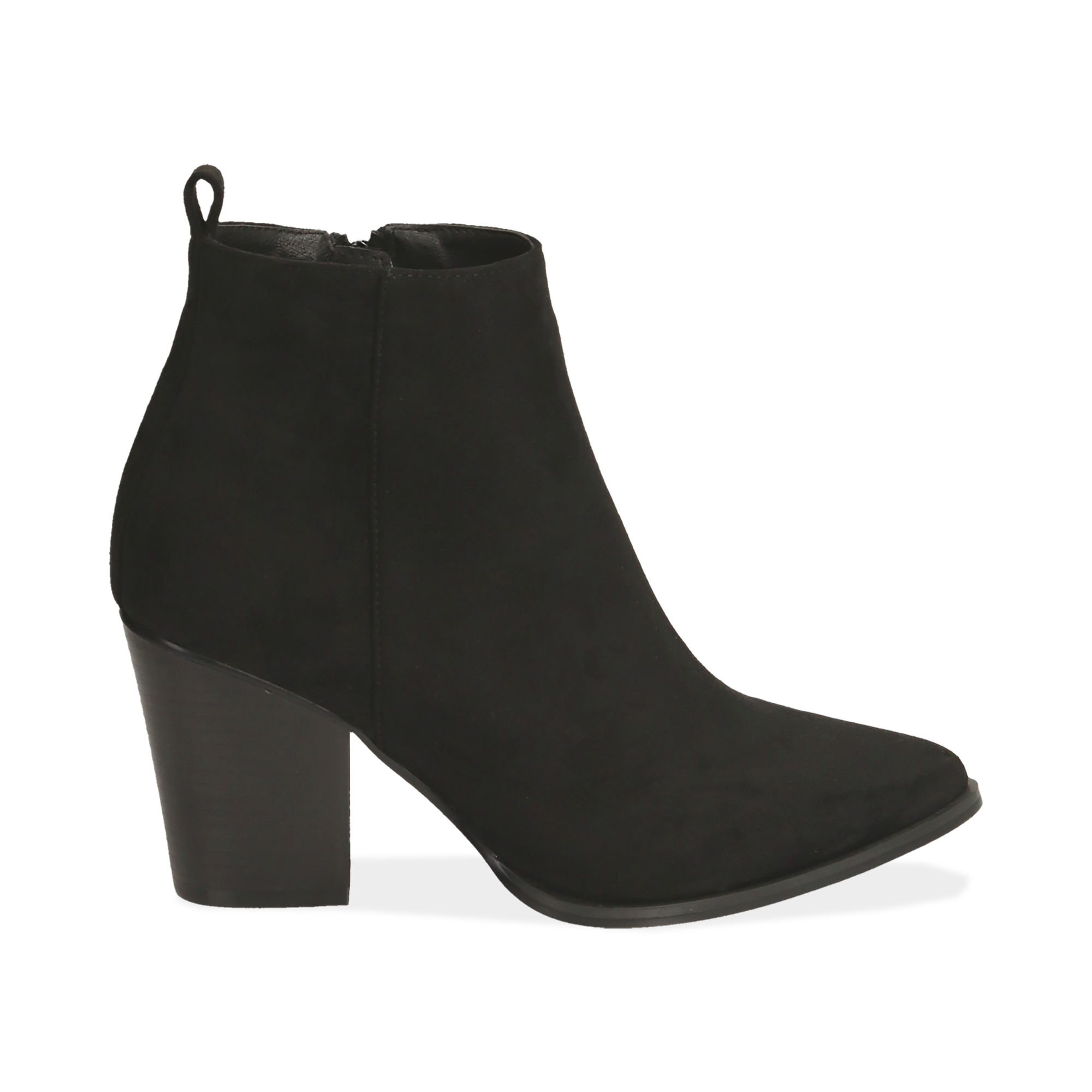 Ankle boots neri in microfibra, tacco 8,50 cm