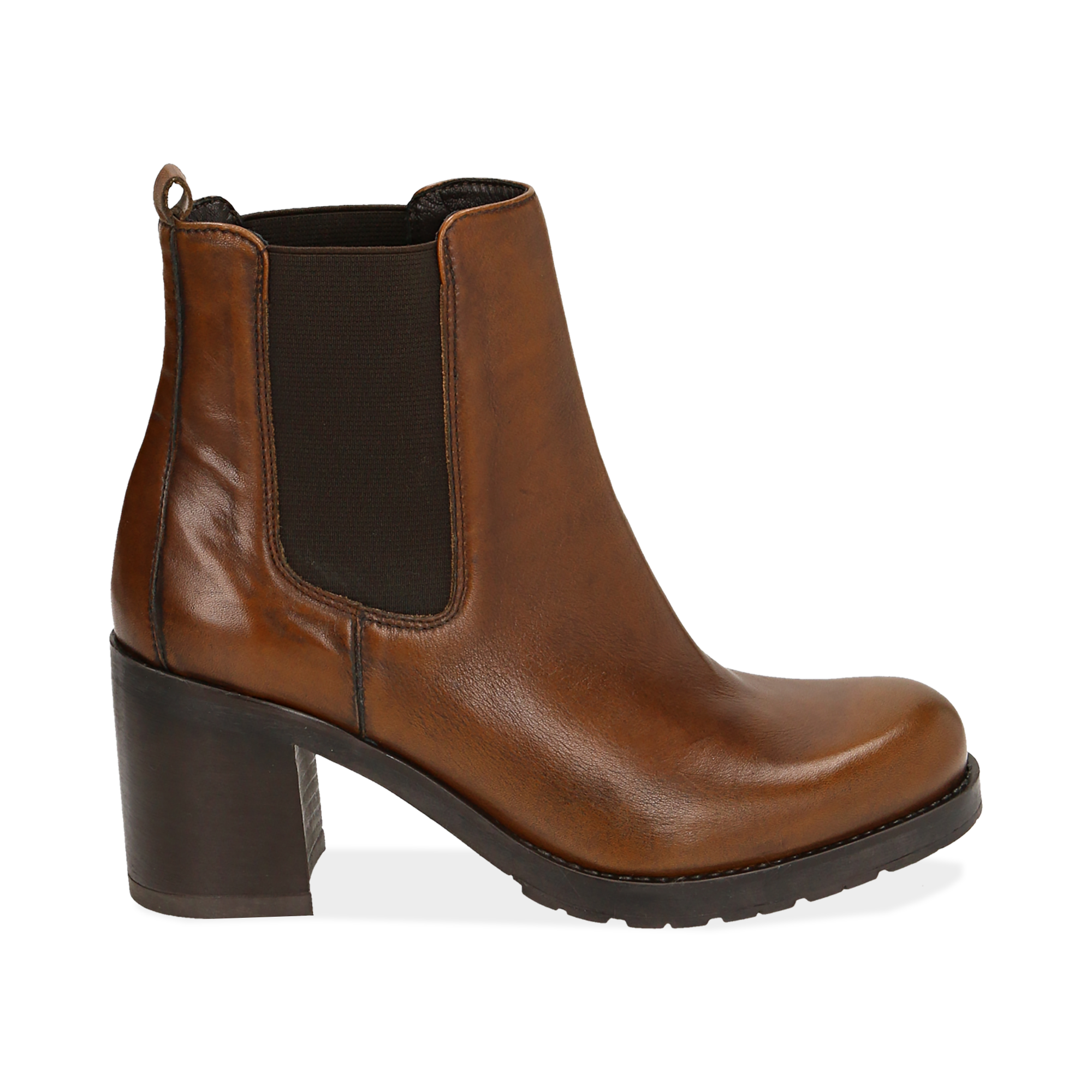 Chelsea boots cuoio in pelle, tacco 7,50 cm