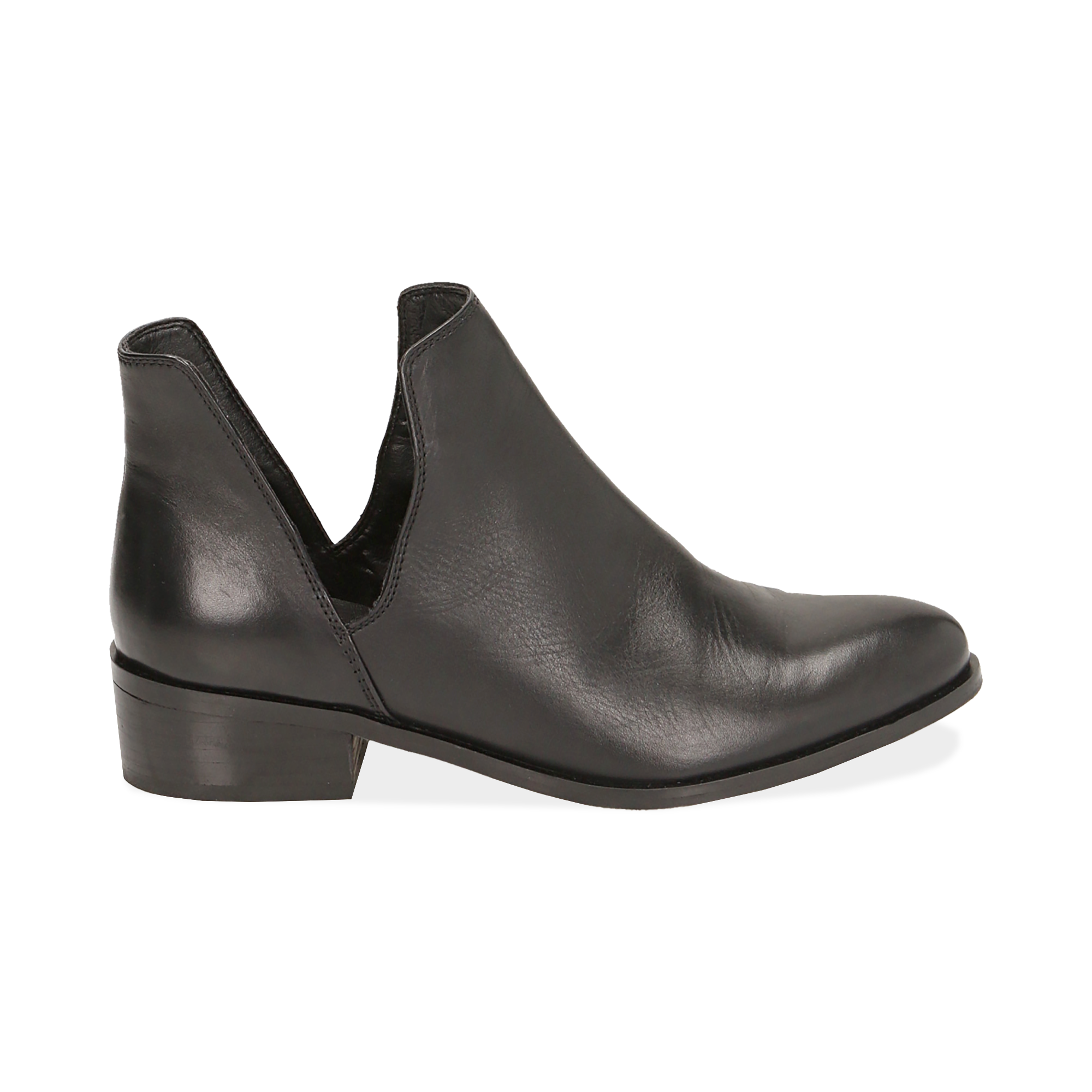 Ankle boots neri in pelle, tacco 3 cm