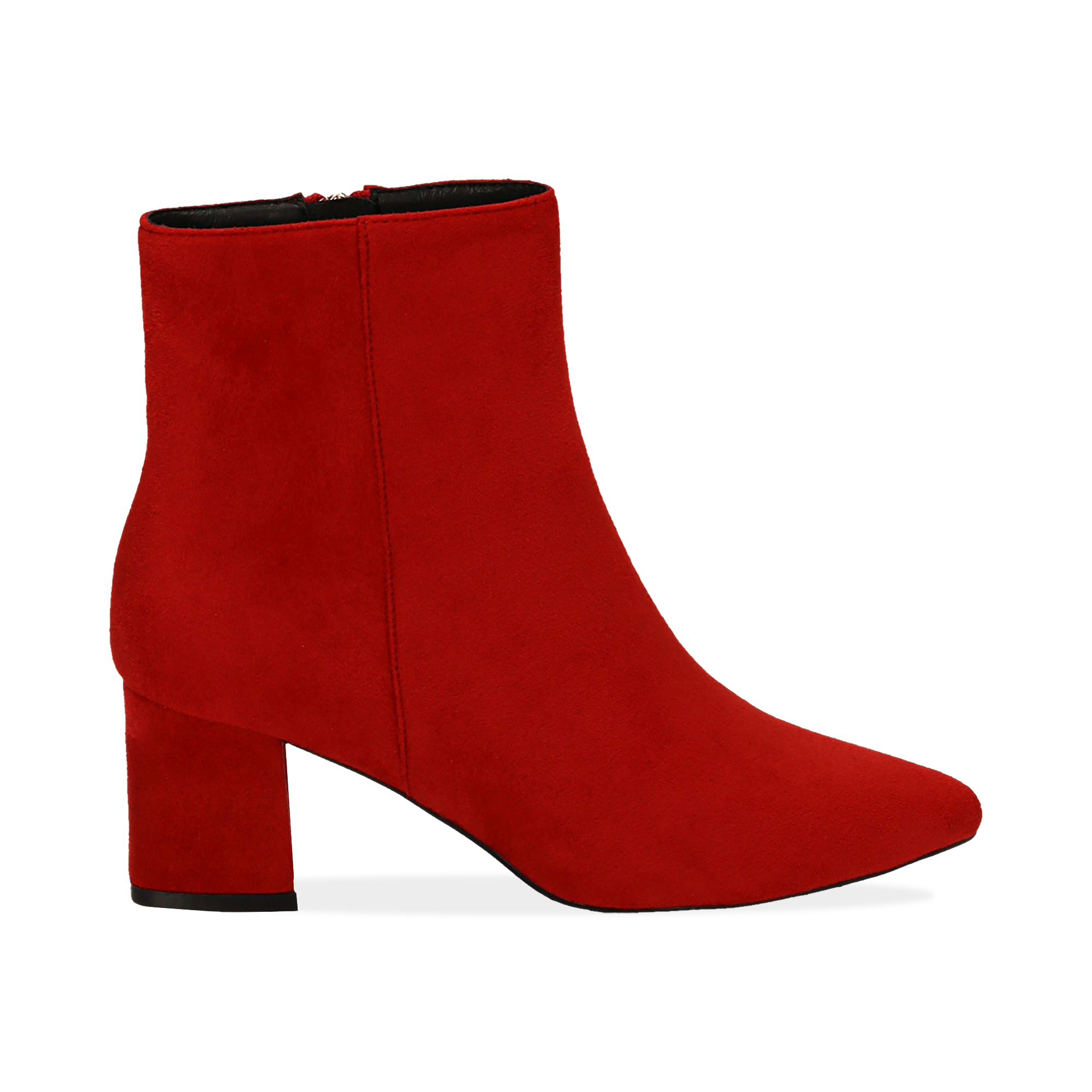 Ankle boots rossi in microfibra, tacco 6 cm