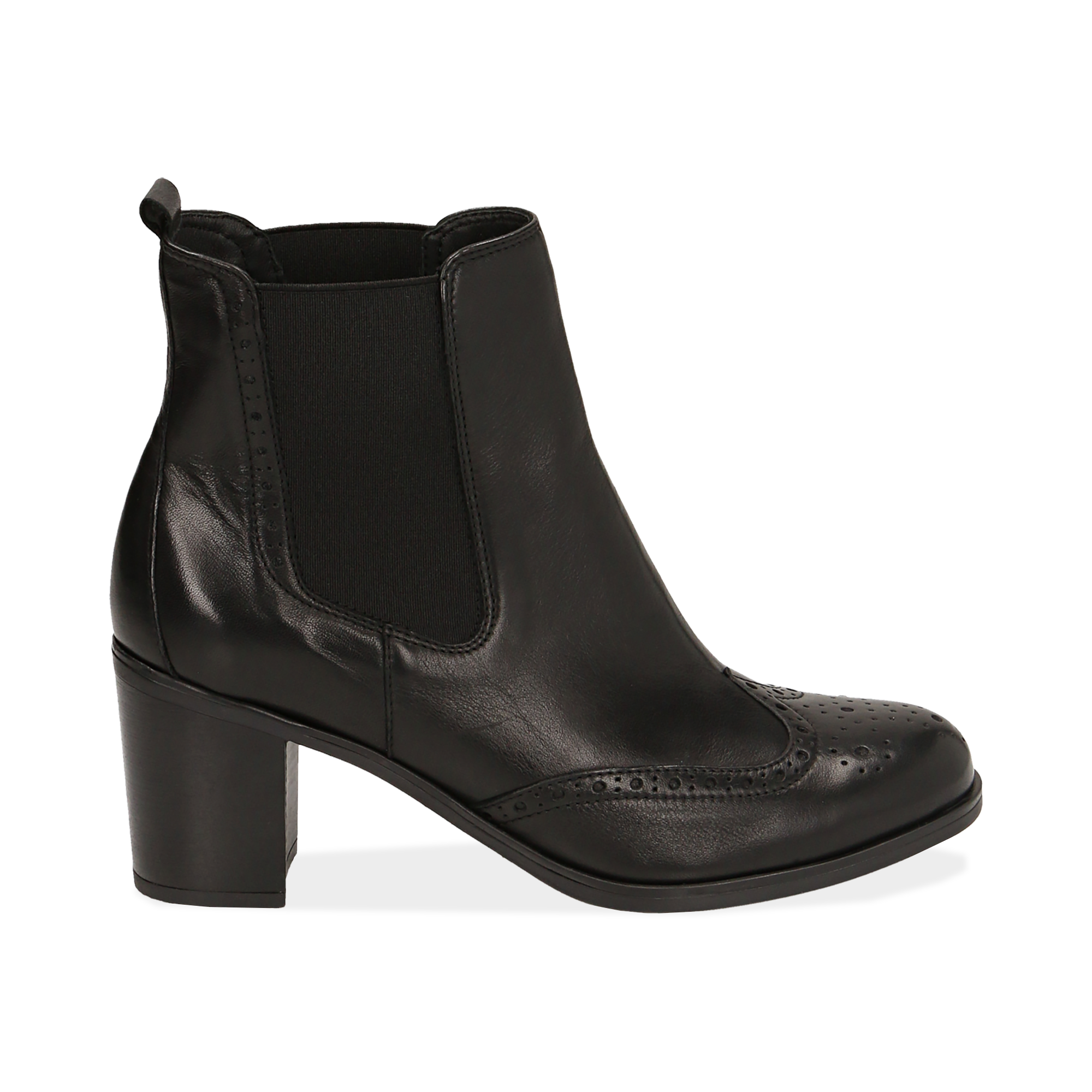 Ankle boots neri in pelle, tacco 7,50 cm