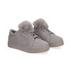 Sneakers grigie con pon pon in eco-fur