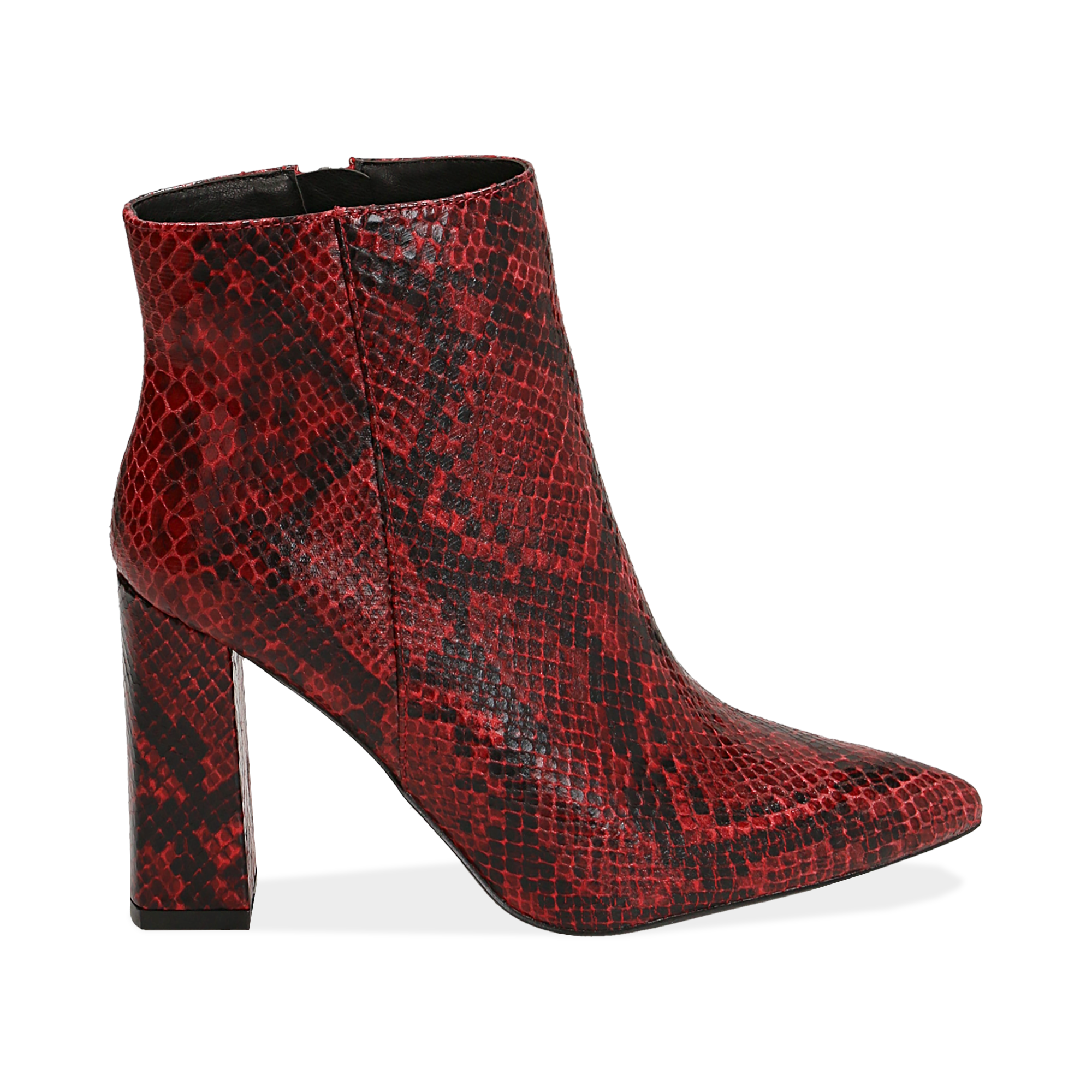 Ankle boots rossi in eco-pelle stampa pitone, tacco 9,5 cm