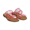 Mules flat fucsia in vernice fluo con effetto see through