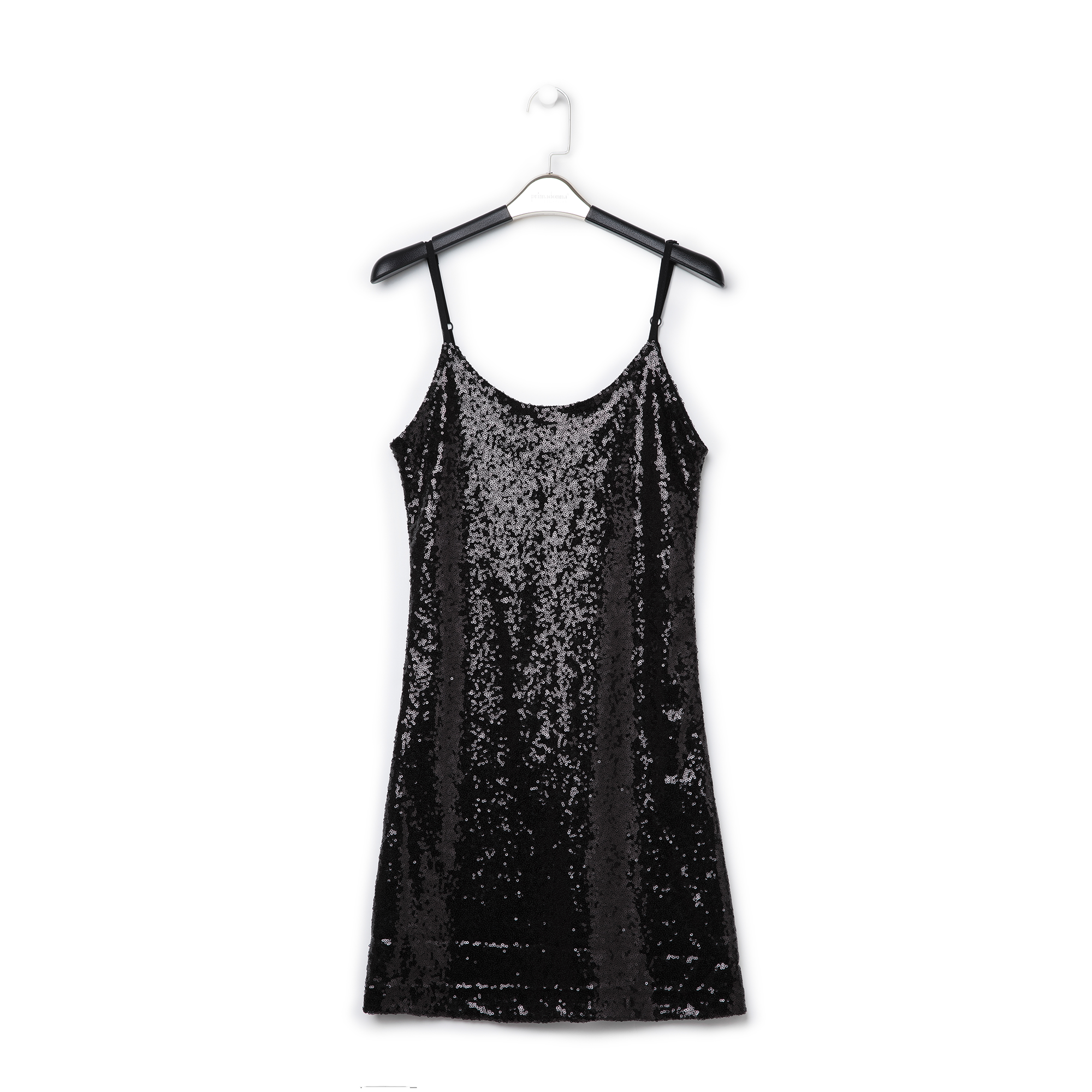 Mini-dress nero in tessuto e paillettes