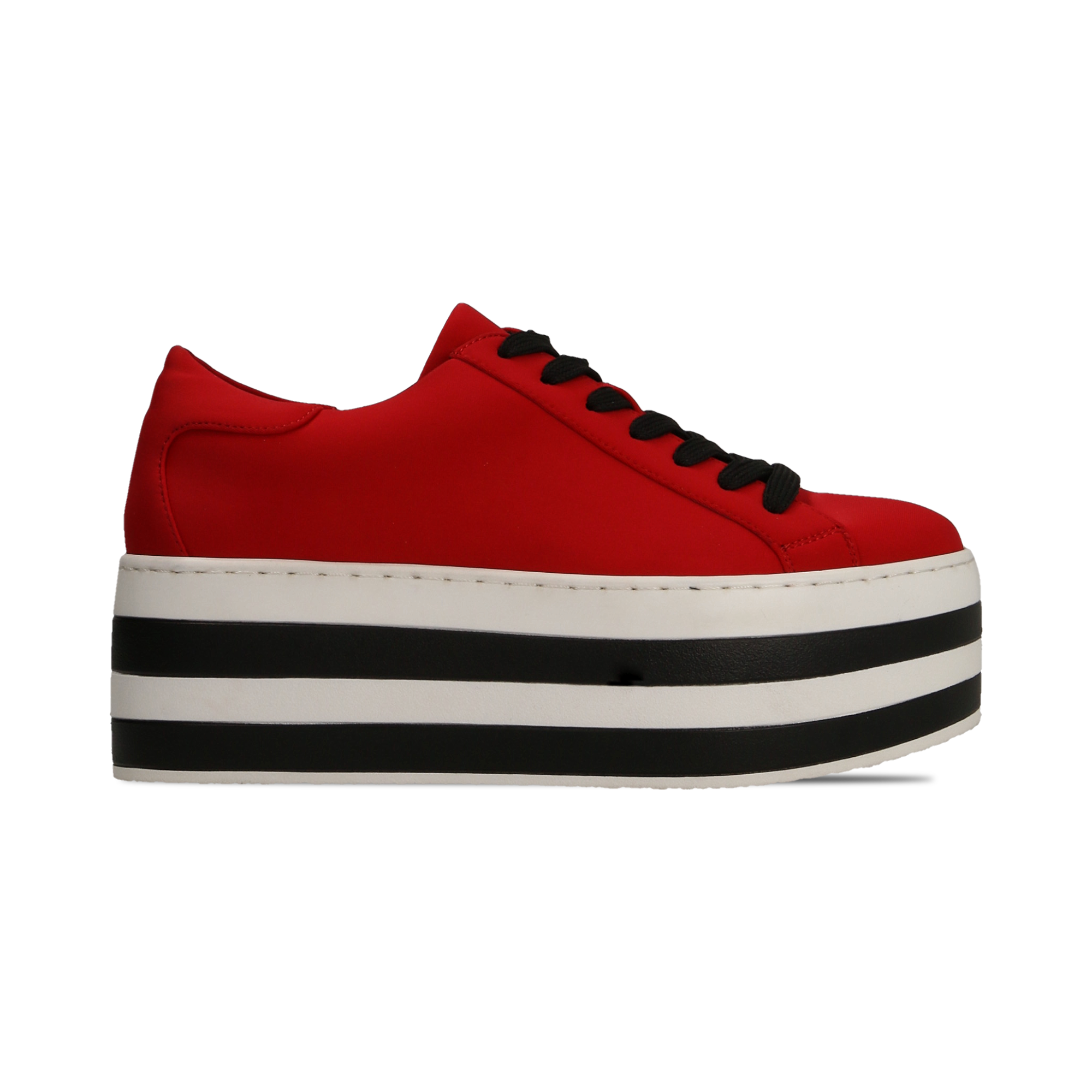 Sneakers rosse con suola platform a righe 6 cm