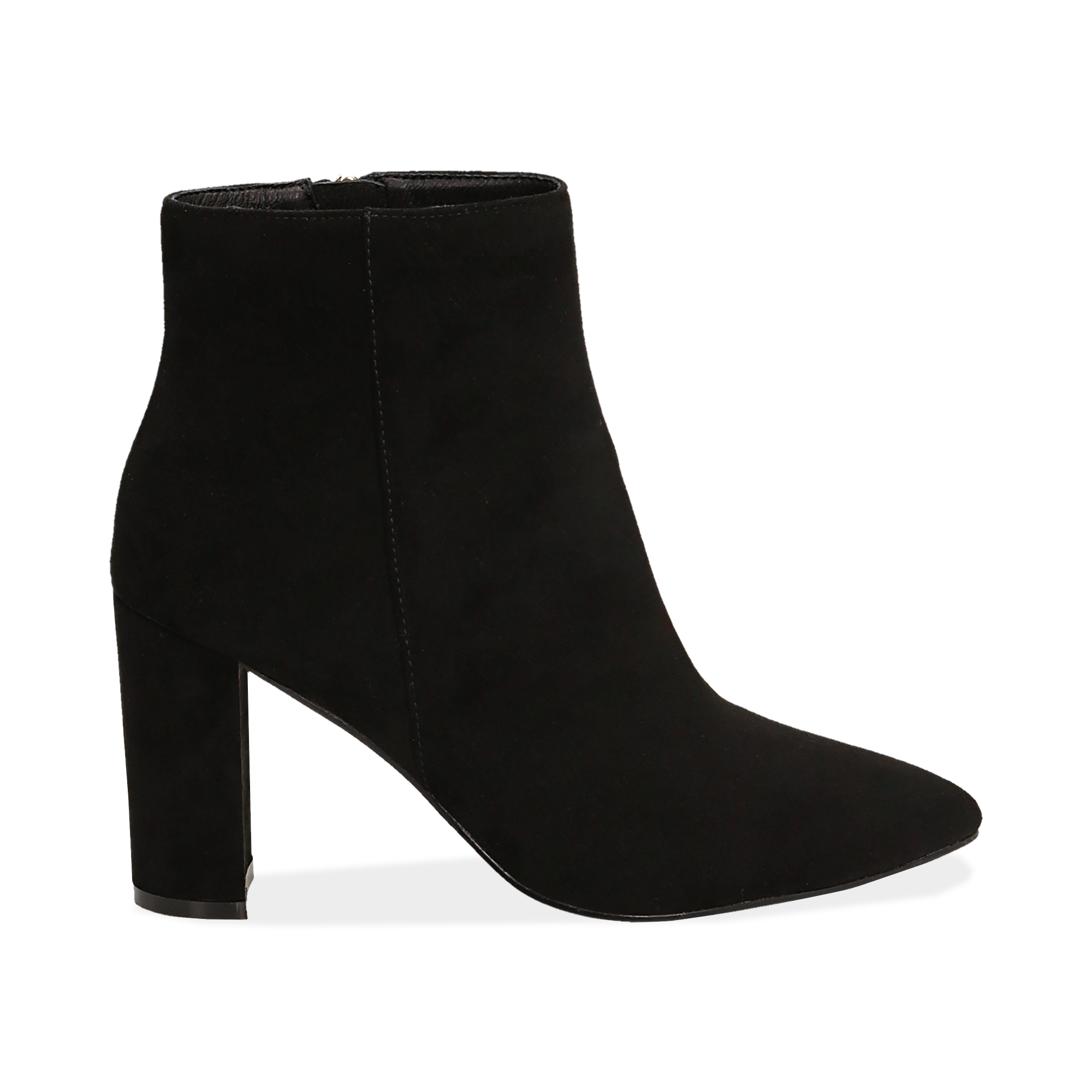 Ankle boots neri in microfibra, tacco 8,5 cm