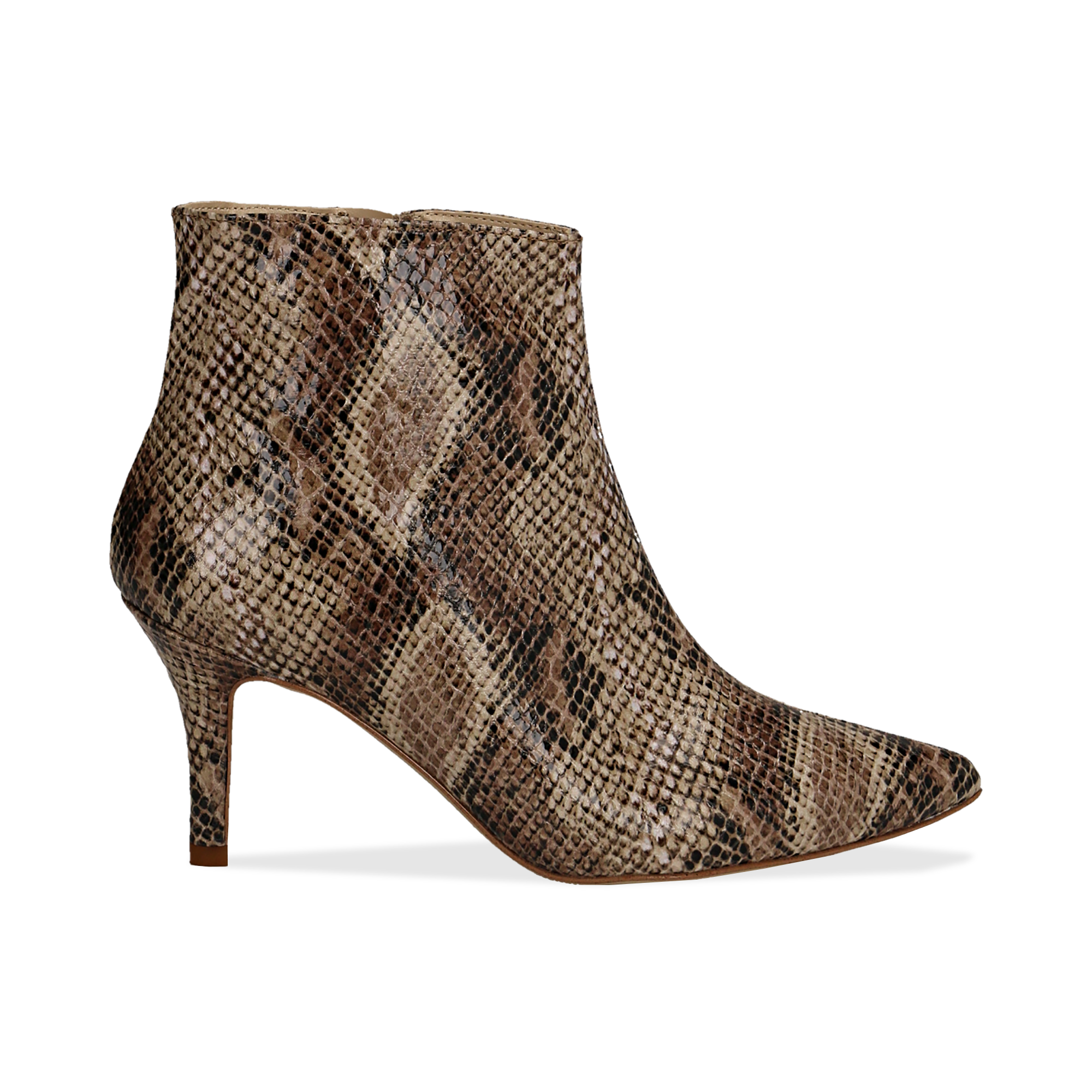 Ankle boots beige in eco-pelle effetto snake skin, tacco 8 cm